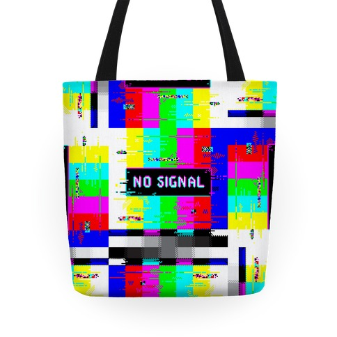 Glitchy No Signal Bars Tote