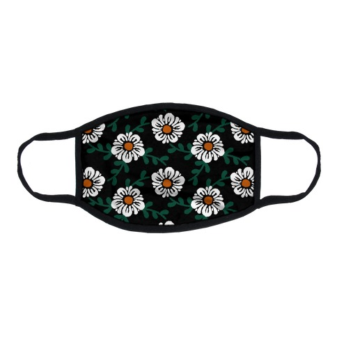 Retro Flowers and Vines Black Flat Face Mask