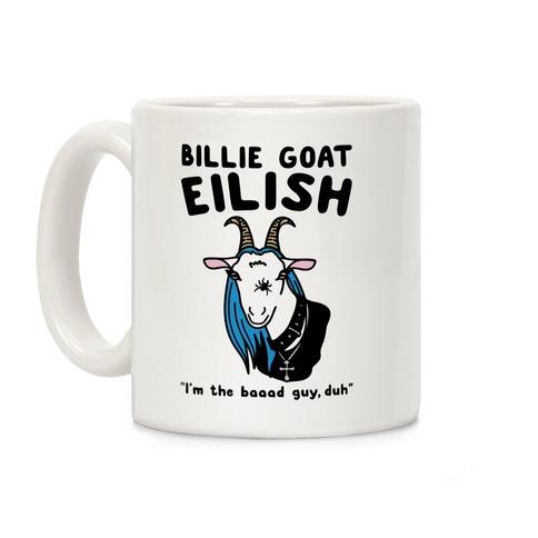 Billie Goat Eilish Parody White Print Coffee Mug