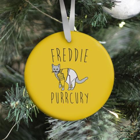 Freddie Purrcury Cat Parody Ornament