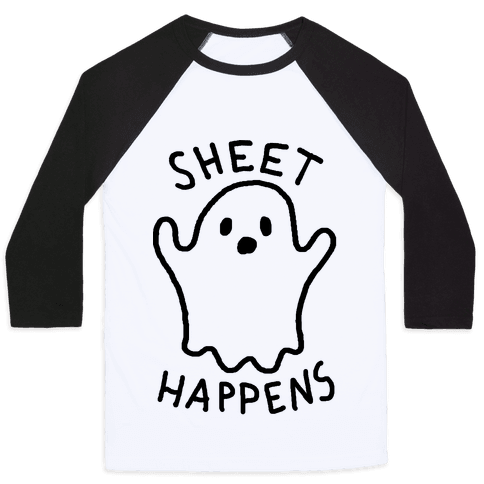 Sheet Happens Ghost Baseball Tee