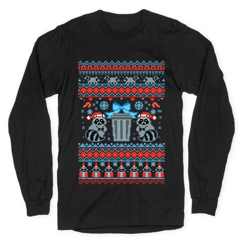 Raccoon Ugly Christmas Sweater Long Sleeve T-Shirt