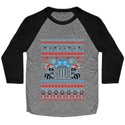 Raccoon Ugly Christmas Sweater Baseball Tee
