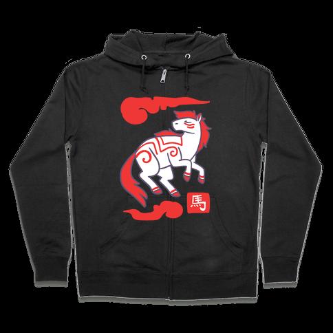 Horse - Chinese Zodiac Zip Hoodie