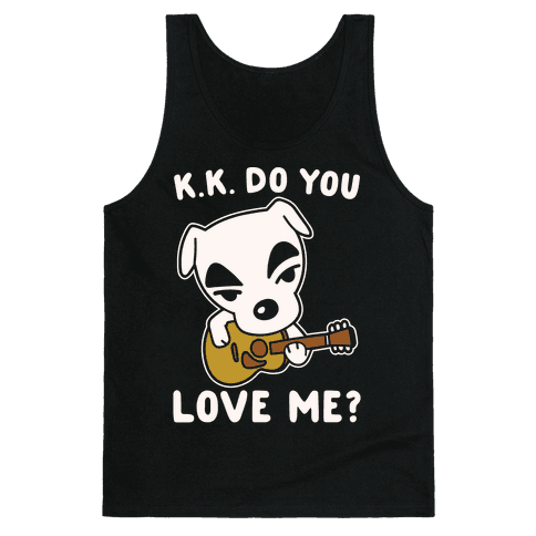 K.K. Do You Love Me Parody White Print Tank Top