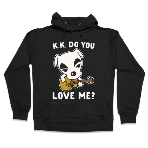 K.K. Do You Love Me Parody White Print Hooded Sweatshirt