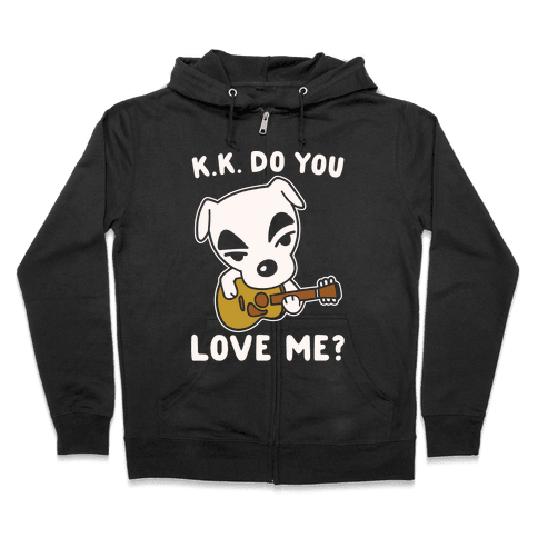 K.K. Do You Love Me Parody White Print Zip Hoodie