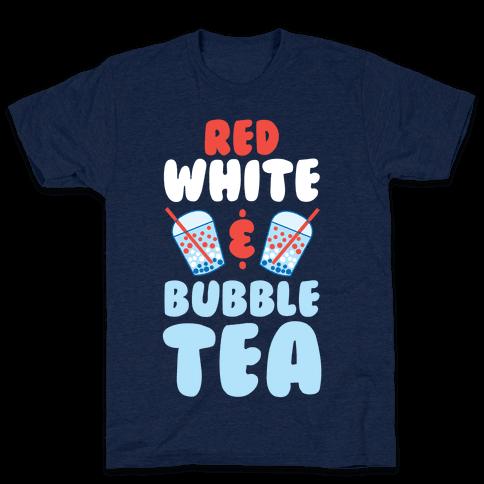 Red, White & Bubble Tea Mens T-Shirt