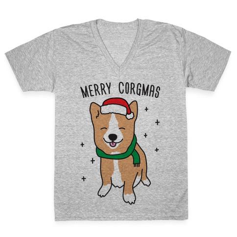 Merry Corgmas V-Neck Tee Shirt