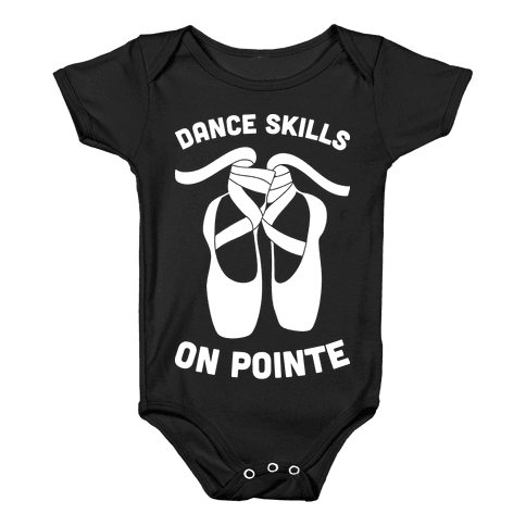Dance Skills On Pointe (White) Baby Onesy