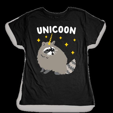 Unicoon Raccoon Unicorn  Womens T-Shirt