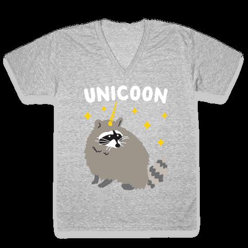 Unicoon Raccoon Unicorn  V-Neck Tee Shirt