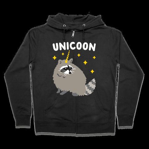 Unicoon Raccoon Unicorn  Zip Hoodie