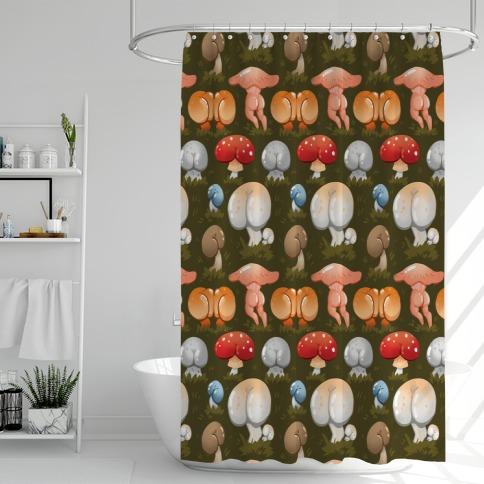 Butt Mushroom Pattern Shower Curtain