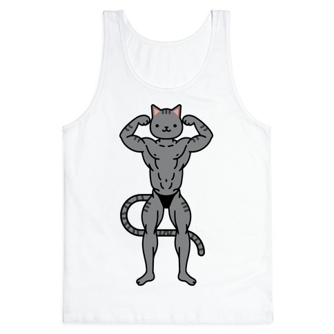 Buff Cat Grey Stripe Tank Top