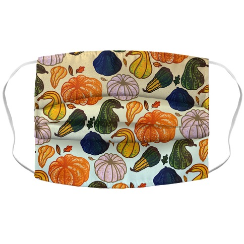 Autumn Gourds Pattern Accordion Face Mask