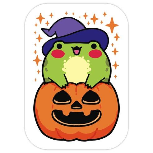 Cute Halloween Frog Die Cut Sticker