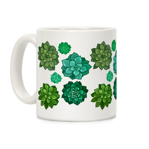 Green Succulent Pattern Coffee Mug