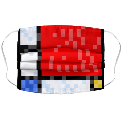 Pixelated Composition With Red Blue And Yellow Face Mask Cover