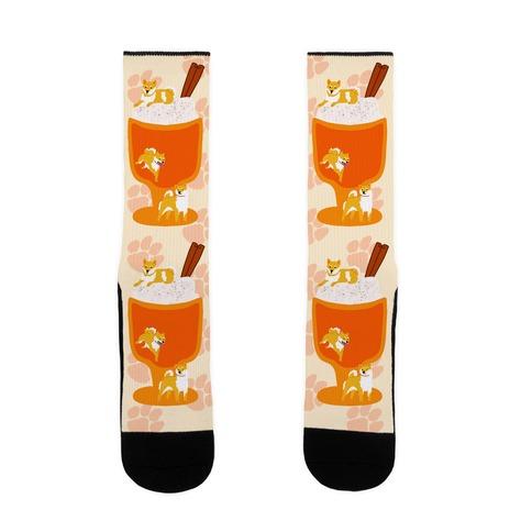 Pumpkin Spice Shibas Sock