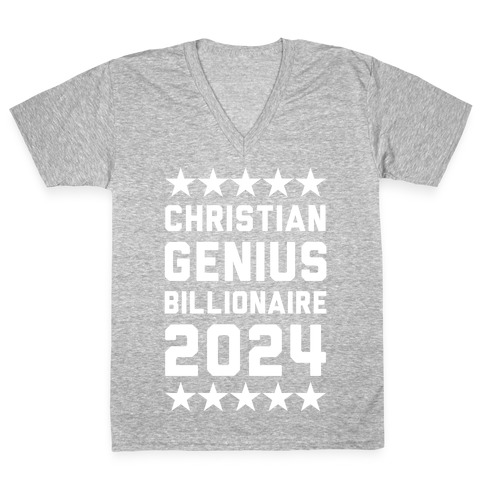 Christian Genius Billionaire 2024 V-Neck Tee Shirt