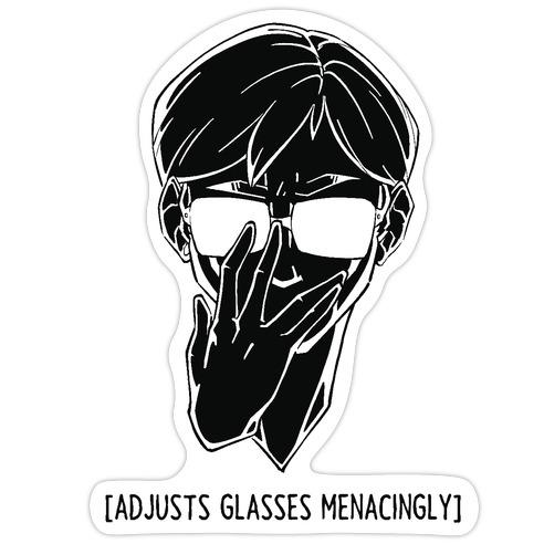 Adjusts Glasses Menacingly Die Cut Sticker