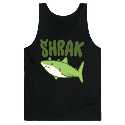 Shrak Shrek Shark Parody White Print Tank Top
