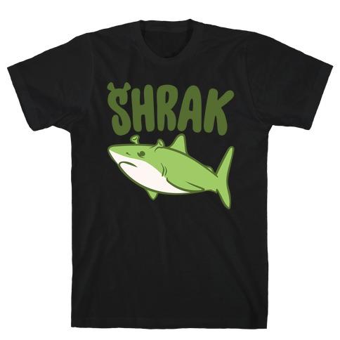 Shrak Shrek Shark Parody White Print T-Shirt