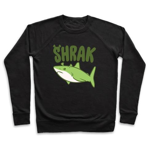 Shrak Shrek Shark Parody White Print Pullover