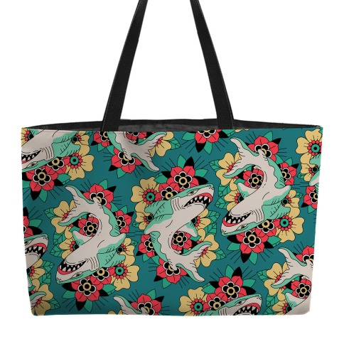 Floral Shark Traditional Tattoo Weekender Tote
