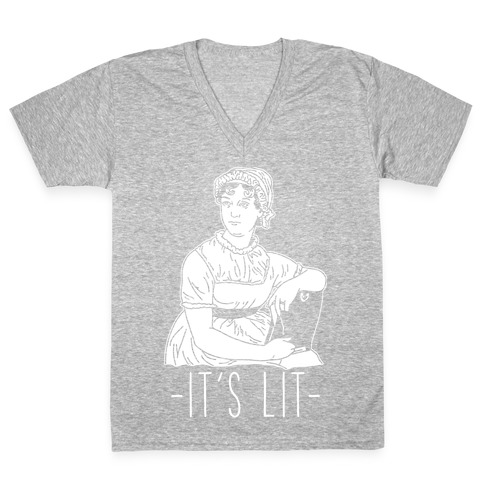 It's Lit Jane Austen V-Neck Tee Shirt