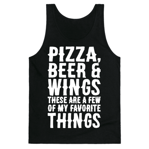 Pizza Beer & Wings White Font  Tank Top