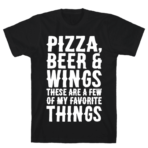 Pizza Beer & Wings White Font  Mens T-Shirt