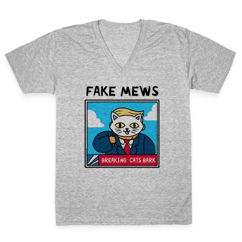 Fake Mews V-Neck Tee Shirt