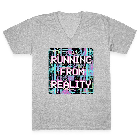 Running From Reality Glitch V-Neck Tee Shirt