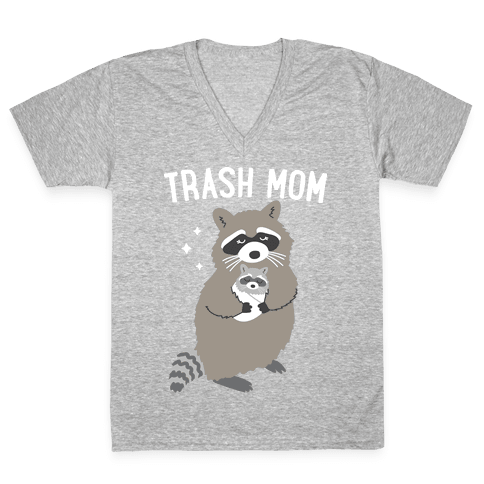 Trash Mom Raccoon V-Neck Tee Shirt