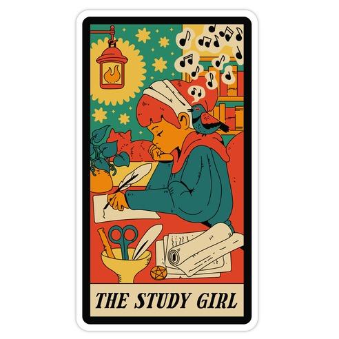 The Study Girl Tarot Card Die Cut Sticker
