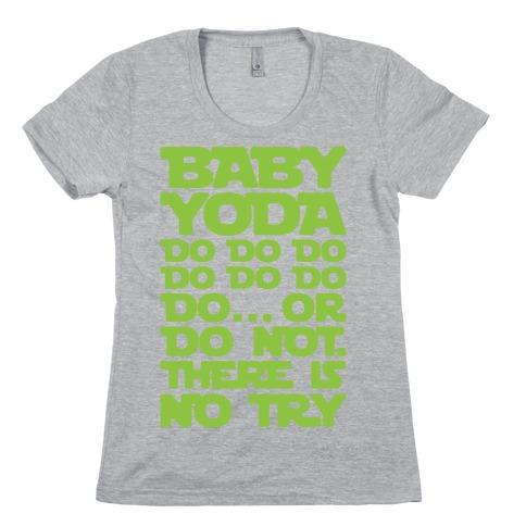 Baby Yoda Baby Shark Parody Womens T-Shirt