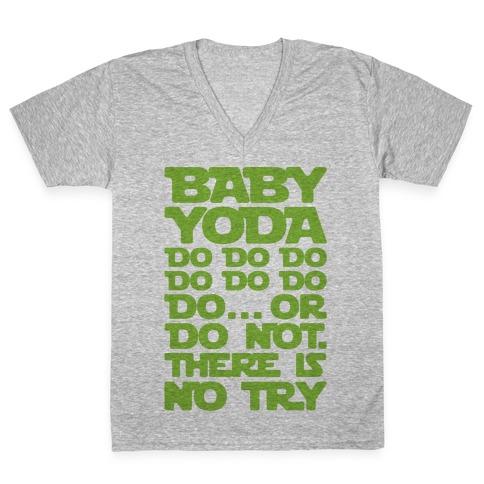 Baby Yoda Baby Shark Parody V-Neck Tee Shirt