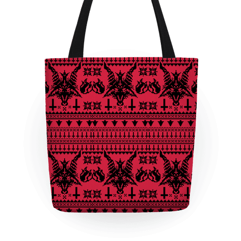 Satanic Christmas Sweater.Baphomet Ugly Christmas Sweater Tote Bag Lookhuman