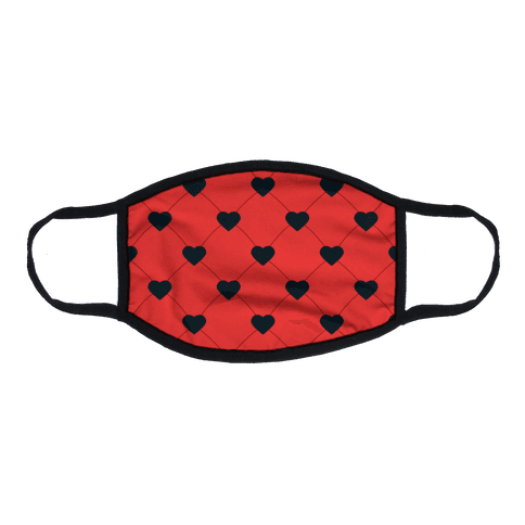 Simple Heart Pattern Red Flat Face Mask