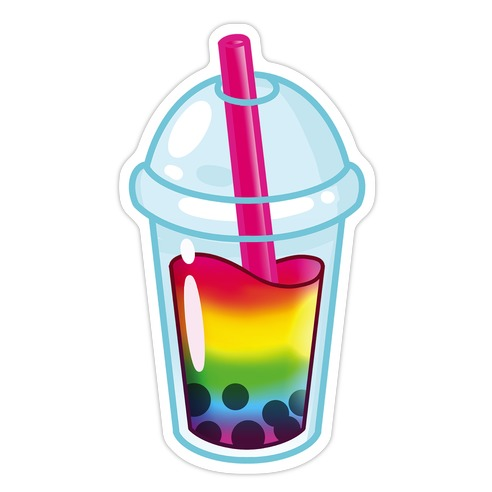 Gay Pride Bubble Tea Die Cut Sticker