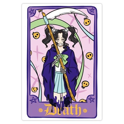 Pastel Goth Death Tarot Card Die Cut Sticker