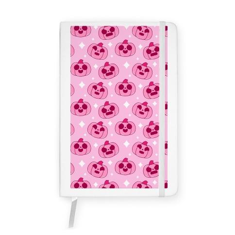 Kawaii Pumpkins Pattern Pink Notebook