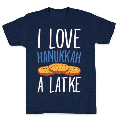 I Love Hanukkah A Latke Parody White Print Mens T-Shirt