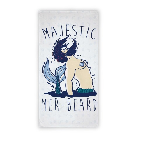 Majestic Mer-Beard Merman Beach Towel