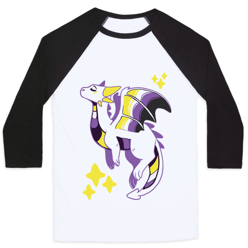 Non-Binary Pride Dragon Baseball Tee
