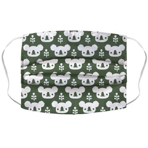 Koala and Eucalyptus Boho Pattern Green Accordion Face Mask