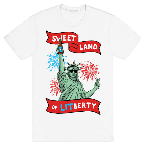 Sweet Land of LITberty Mens T-Shirt