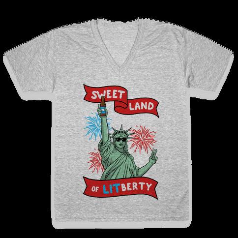 Sweet Land of LITberty V-Neck Tee Shirt